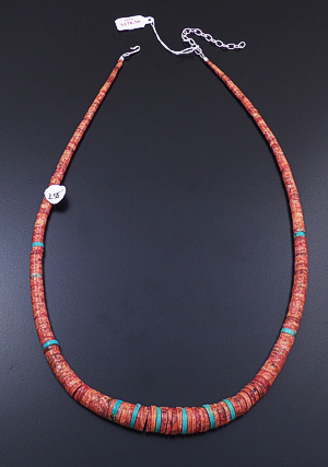 "Kevin Garcia (Santo Domingo) - 24"" to 27"" Red Shell & Turquoise Tapered Heishi Necklace #43209A $255.00"