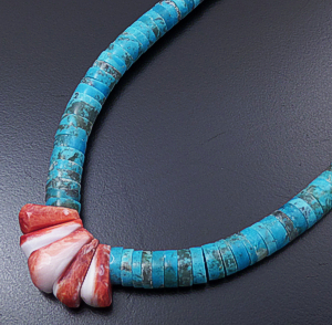 "Lupe Lovato (Santo Domingo) - 18"" Turquoise Heishi & Red Shell ""Corn"" Necklace #43213 $250.00"
