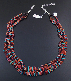"Angie Crespin (Santo Domingo) - 23"" to 26"" Three Strand Mixed Shell & Turquoise Chip Bead Necklace #43214 $219.00"