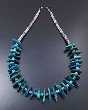 "Santo Domingo - 18"" Turquoise Wedge Bead & Shell Heishi Necklace #43216 $190.00"
