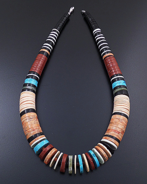 "Pula Calabaza (Santo Domingo) - 18"" Large Tapered Multistone Heishi Necklace #43280 $250.00"