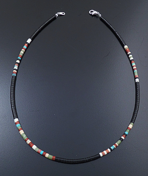 "Dorene Calabaza (Santo Domingo) - 17"" Black Jet & Multistone Heishi Necklace #43283 $60.00"