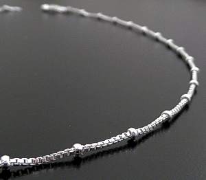 "Italian - 16"" Bead Accented Sterling Silver Square Box Chain Necklace #43295 $25.00"
