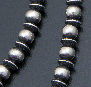 "Marilyn Platero (Navajo) - 18"" 5mm Mixed Burnished Sterling Silver Bead Necklace #39419 $150.00"