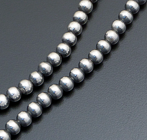 "Marilyn Platero (Navajo) - 30"" 6mm Navajo Pearl Burnished Sterling Silver Bead Necklace #39057 $245.00"