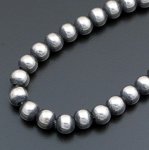 "Marilyn Platero (Navajo) - 30"" 8mm Navajo Pearl Burnished Sterling Silver Bead Necklace #24138 $390.00"