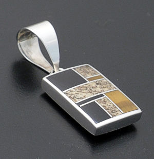 Supersmith Inc. - David Rosales Designs - Native Earth Inlay & Sterling Silver Kokopelli Pendant #17348 Style P038 $190.00