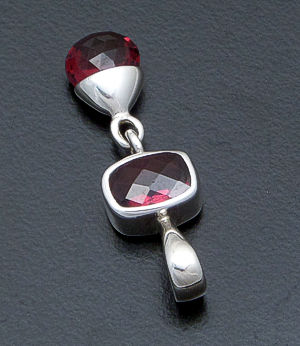 acleoni - Faceted Garnet Rectangle & Teardrop Dangle Sterling Silver Pendant #17871 $60.00