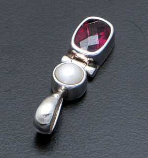 acleoni - Faceted Rectangle Garnet & Freshwater Pearl Sterling Silver Pendant #18290 $70.00