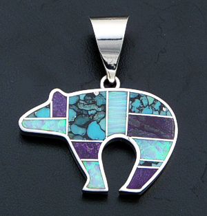 Supersmith Inc. - David Rosales Designs- Shalako Inlay & Sterling Silver Reversible Bear Pendant #18363 Style P251 $255.00