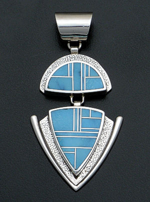 Supersmith Inc. - David Rosales Designs - Arizona Blue Rectangular Large Double Sided Inlay & Textured Sterling Silver Pendant #19156 Style P625 $450.00