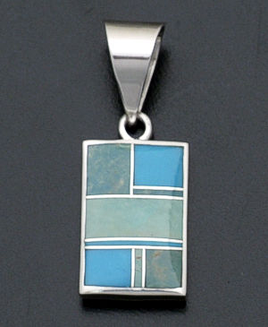 Supersmith Inc. - David Rosales Designs - Turquoise Valley Reversible Inlay & Sterling Silver Kokopelli Pendant #19661 Style P038 $190.00