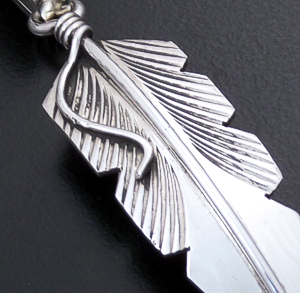 Chris Charley (Navajo) - Intricate Sterling Silver Feather Pendant #21369 $50.00