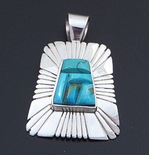 Melvin Francis (Navajo) - Turquoise Inlay & Sterling Silver Sunburst Tapered Rectangle Pendant #21516 $135.00