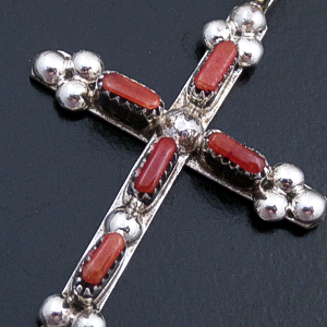 Zuni - Small Coral & Sterling Silver Beaded Cross Pendant #22784 $40.00