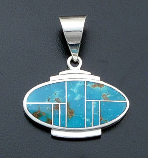 Supersmith Inc. - David Rosales Designs - Watermark Turquoise Inlay & Sterling Silver Accented Oval Pendant #23076 Style P229 $260.00