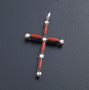 Zuni - Small Reversible Coral & Turquoise Needlepoint Sterling Silver Cross Pendant #26037 $45.00