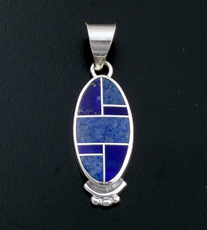 Supersmith Inc. - David Rosales Designs (Navajo) - Blue Water Inlay & Sterling Silver Square & Accented Oval Pendant #26189 P232 $160.00