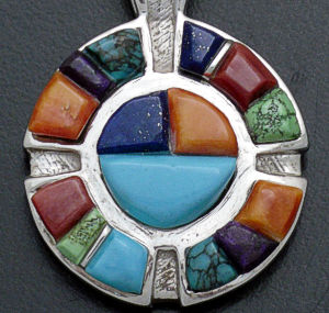 Supersmith Inc. - David Rosales Designs - Indian Summer Cobble Inlay & Sterling Silver Sunface Pendant #26912 Style P090C $370.00