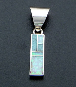 Supersmith Inc. - David Rosales Designs - Amazing Light Inlay & Sterling Silver Small Rectangular Pendant #27275 Style P105 $110.00