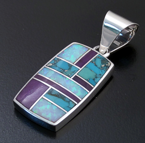 Supersmith Inc. - David Rosales Designs (Navajo) - Shalako Inlay & Sterling Silver Rectangular Pendant #27491 Style P124 $210.00