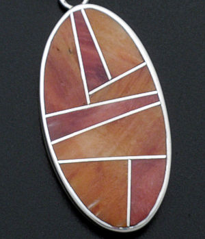 Supersmith Inc. - David Rosales Designs - Desert Fire Oval Inlay & Sterling Silver Pendant #27738 Style P329 $210.00