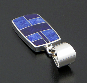 Supersmith Inc. - David Rosales Designs - Blue Water Rectangular Inlay & Sterling Silver Pendant #29705 Style P124 $210.00