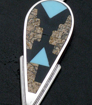 Supersmith Inc. - David Rosales Designs - Turquoise Creek Fancy Sterling Silver Shield Pendant #31030 Style P8004 $205.00