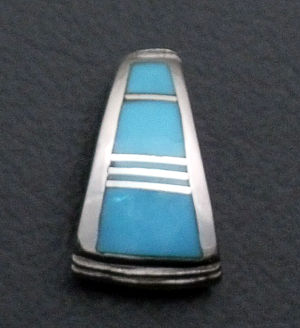 Supersmith Inc. - David Rosales Designs - Arizona Blue Small Inlay & Sterling Silver Teardrop Pendant #34553 Style P021 $85.00