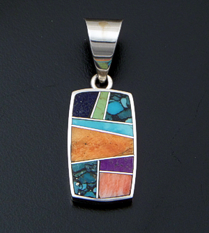 Supersmith Inc. - David Rosales Designs (Navajo) - Indian Summer Inlay & Sterling Silver Rectangle Pendant #34557 Style P124  $225.00