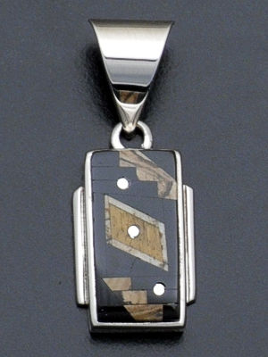 Supersmith Inc. - David Rosales Designs - Native Earth Fancy Inlay & Sterling Silver Rectangular Pendant #34570 Style P8002F $175.00