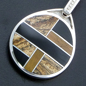 Supersmith Inc. - David Rosales Designs - Native Earth Inlay & Sterling Silver Disk Pendant #36088 Style P152 $180.00
