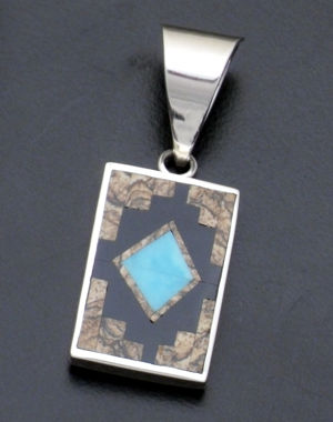 Supersmith Inc. - David Rosales Designs - Turquoise Creek & Sterling Silver Reversible Fancy Rectangle Pendant #36103 Style P038M $245.00