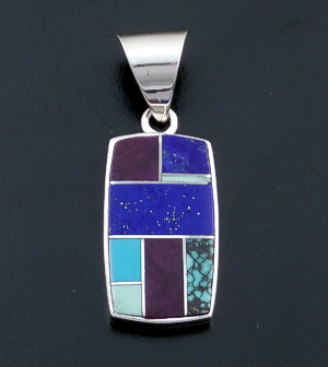 Supersmith Inc. - David Rosales Designs - Spring Mountain Inlay & Sterling Silver Rectangle Pendant #36457 Style P124 $190.00