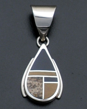 Supersmith Inc. - David Rosales Designs - Native Earth Small Inlay & Sterling Silver Teardrop Pendant #37035 Style P8003 $115.00
