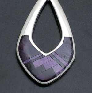 Supersmith Inc. - David Rosales Designs - Plum Crazy Fancy Inlay Sterling Silver Pendant #37689 Style P209 $240.00