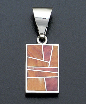 Supersmith Inc. - David Rosales Designs - Desert Fire Reversible Inlay & Sterling Silver Kokopelli Pendant #37821 Style P038 $210.00