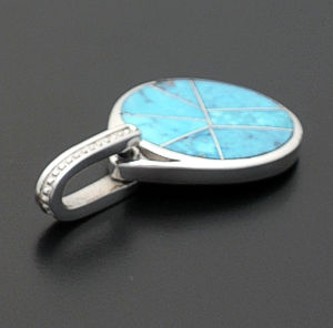 Supersmith Inc. - David Rosales Designs - Arizona Blue Watermark Sterling Silver Disk Pendant #38241 Style P152 $220.00