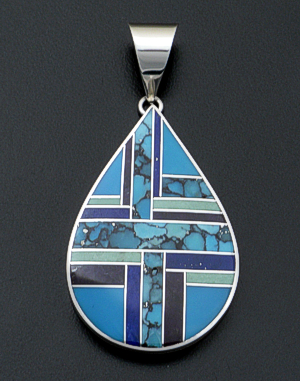 Supersmith Inc. - David Rosales Designs - Spring Mountain Large Sterling Silver Teardrop Pendant #38404 Style P370 $300.00