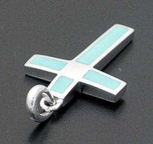 acleoni - Turquoise & Sterling Silver Inlay Cross Pendant #38793 $75.00