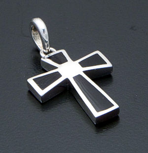 acleoni - Black Shell Inlay & Sterling Silver Cross Pendant #39076 $75.00