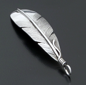 Lena Platero (Navajo) - Intricate Teardrop Shaped Sterling Silver Feather Pendant #39207 $75.00