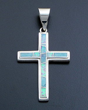 Supersmith Inc. - David Rosales Designs - Amazing Light Inlay & Sterling Silver Beaded Edge Cross Pendant #39390 Style P185 $235.00
