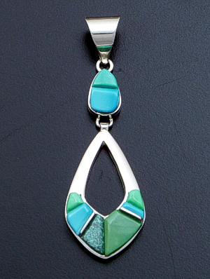 Supersmith Inc. - David Rosales Designs - Pine Hill Cobble Inlay & Sterling Silver Two Piece Open Teardrop Pendant #39397 Style P209C $180.00