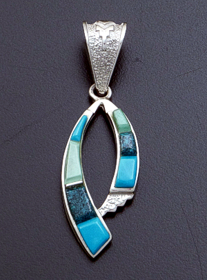 Supersmith Inc. - David Rosales Designs - Pine Hill Cobble Inlay & Sterling Silver Double Ribbon Pendant #39398 Style P060C $210.00