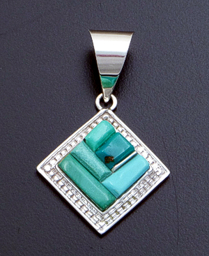 Supersmith Inc. - David Rosales Designs - Pine Hill Cobble Inlay & Sterling Silver Beaded Square Pendant #39400 Style P296C $150.00