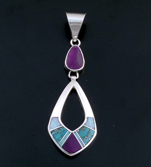 Supersmith Inc. - David Rosales Designs - Shalako Fancy Inlay & Sterling Silver Two Piece Open Teardrop Pendant #39402 Style P209 220.00