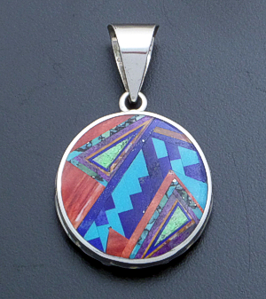 Supersmith Inc. - David Rosales Designs - Indian Summer Inlay & Sterling Silver Reversible Large Round Pendant #39406 Style P399 $510.00
