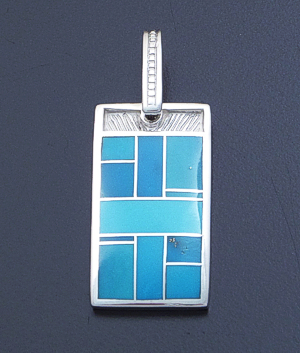 Supersmith Inc. - David Rosales Designs - Arizona Blue Inlay & Sterling Silver Rectangle Pendant #39408 Style P150 $195.00