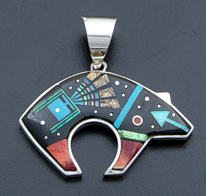 Supersmith Inc. - David Rosales Designs - Twilight Yei Pictorial Inlay & Sterling Silver Bear Pendant #39932 Style P257 $510.00
